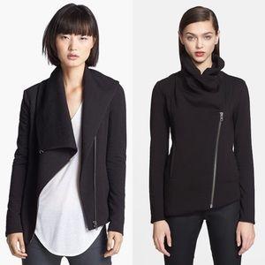 Helmut Lang Black Asymmetrical Zip Up Moto Jacket